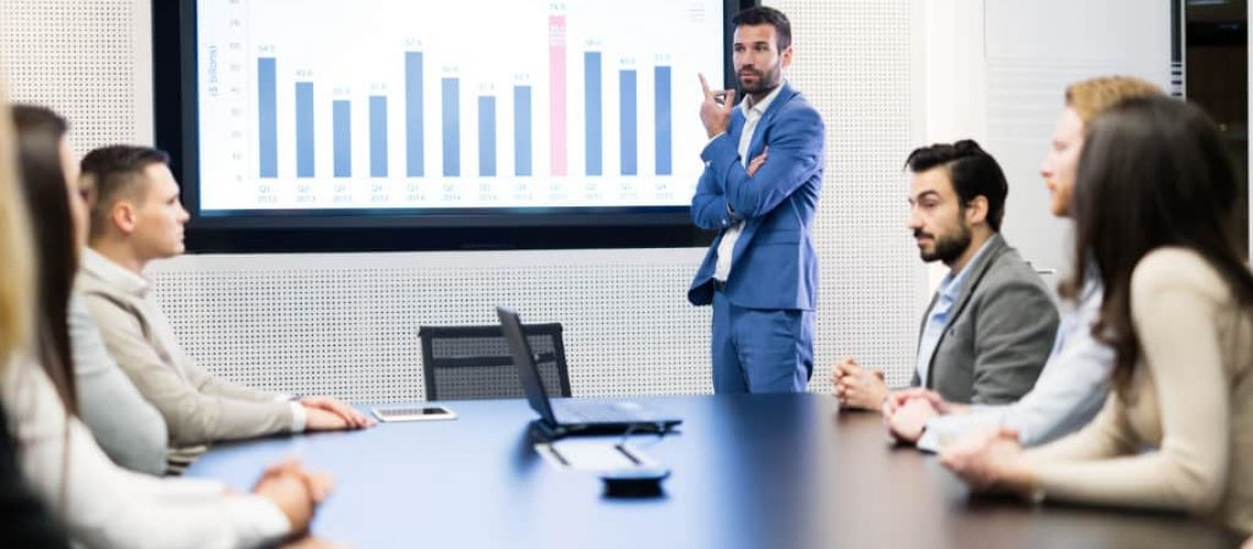 Picture of business meeting in modern conference room